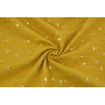 Double gauze 100% cotton golden dandelions on a mustard background