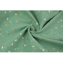 Double gauze 100% cotton golden dandelions on a green background