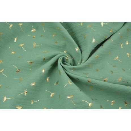 Muślin bawełniany, zielony w złote dmuchawce