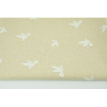 Viscose with linen embroidered with birds, beige
