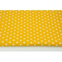 Bawełna 100% białe gwiazdki 1cm na żółtym tle, popelina