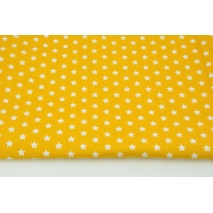 Cotton 100% white stars 1cm on a yellow background, poplin