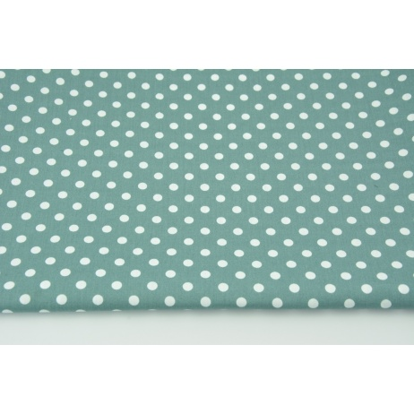 Cotton 100% white dots 7mm on a dark azure background, poplin