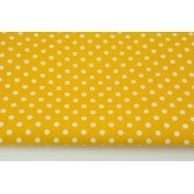 Bawełna 100% białe kropki 7mm na żółtym tle, popelina
