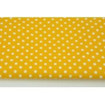 Cotton 100% white dots 7mm on a yellow background, poplin