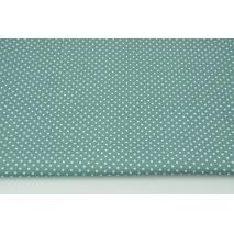 Bawełna 100% białe kropki 2mm na ciemnym lazurowym tle, popelina