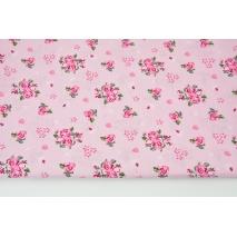 Bawełna 100% różyczki na różowym tle, popelina