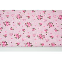 Cotton 100% roses on a pink background, poplin