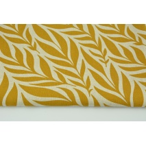 Decorative fabric, mustard leaves on a linen background 200g/m2