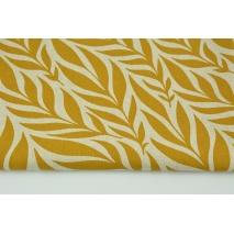 Tkanina dekoracyjna, liście musztardowe na lnianym tle 200g/m2