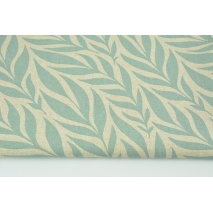 Decorative fabric, chilly mint leaves on a linen background 200g/m2