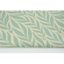 Tkanina dekoracyjna, liście chłodna mięta na lnianym tle 200g/m2