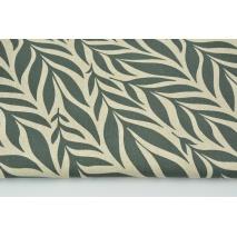 Tkanina dekoracyjna, liście kamienny szary na lnianym tle 200g/m2