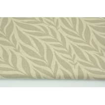 Decorative fabric, gray-beige leaves on a linen background 200g/m2