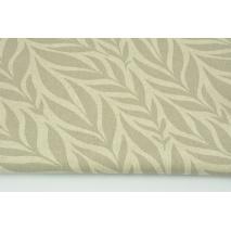 Tkanina dekoracyjna, liście szaro-beżowe na lnianym tle 200g/m2