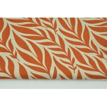 Decorative fabric, ginger leaves on a linen background 200g/m2