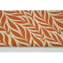 Tkanina dekoracyjna, liście rude na lnianym tle 200g/m2