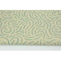 Tkanina dekoracyjna, deseń chłodna mięta na lnianym tle 200g/m2