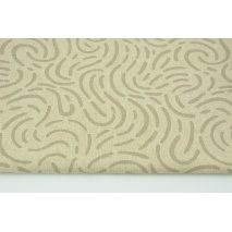 Tkanina dekoracyjna, deseń szaro-beżowy na lnianym tle 200g/m2