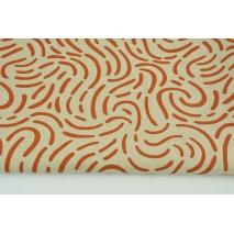 Tkanina dekoracyjna, deseń rudy na lnianym tle 200g/m2