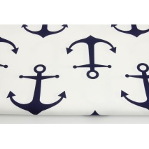 Home Decor, large navy anchors on a white background 220g/m2 II quality