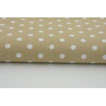 Bawełna 100% kropki białe 7mm na beżowym tle
