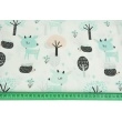 Cotton 100% mint deers in the forest on a white background NO. 2