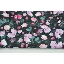 Tkanina wodoodporna różowe kwiaty na czarnym tle
