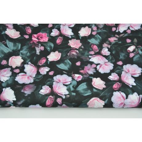 Waterproof fabric pink flowers on a black background