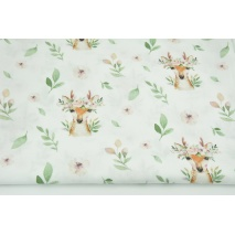 Cotton 100% fawns with flowers DP
