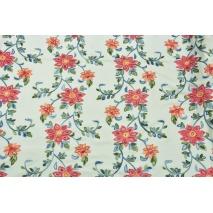 Len z wiskozą, duże haftowane kwiaty na kremowym tle