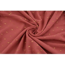 Viscose embroidered with golden lines, Indian pink