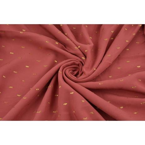 Wiskoza haftowana w złote kreski, róż indyjski