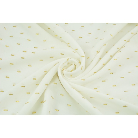 Viscose embroidered with golden lines, ecru