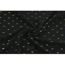 Wiskoza haftowana w złote kreski, czarna