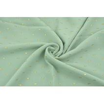 Viscose embroidered with golden lines, powder mint