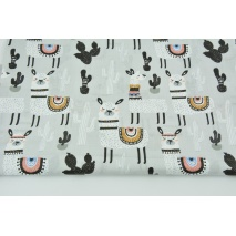 Cotton 100% llamas, cactuses on a light gray background R