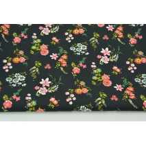 Cotton 100% coral flowers on a black background, poplin