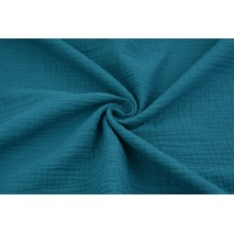 Double gauze 100% cotton plain petrol 2