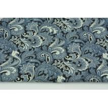 Bawełna 100% niebieski wzór orientalny na czarnym tle, popelina