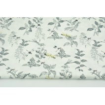 Cotton 100% organic, dragonflies and herbs on an ecru background, poplin
