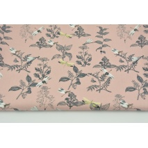 Cotton 100% organic, dragonflies and herbs on a powder pink background, poplin