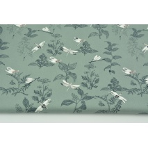 Cotton 100% organic, dragonflies and herbs on a sage background, poplin