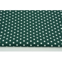 Bawełna 100% białe gwiazdki 1cm na malachitowej zieleni, popelina