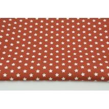 Bawełna 100% białe gwiazdki 1cm na rudym tle, popelina