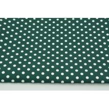 Bawełna 100% białe kropki 7mm na malachitowej zieleni, popelina