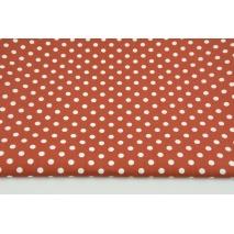 Bawełna 100% białe kropki 7mm na rudym tle, popelina