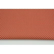 Bawełna 100% białe kropki 2mm na rudym tle, popelina