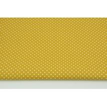 Bawełna 100% białe kropki 2mm na musztardowym tle, popelina