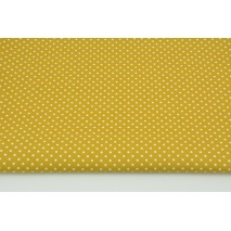 Cotton 100% white dots 2mm on a mustard background, poplin